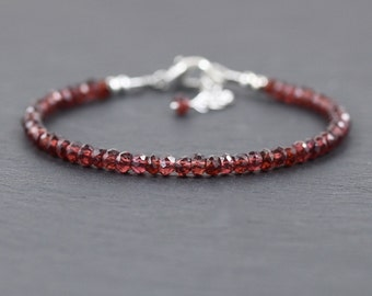 Dainty Garnet Beaded Bracelet in Sterling Silver or Gold Filled. Red Gemstone Stacking Bracelet. Delicate Jewelry. Stackable Bead Bracelet