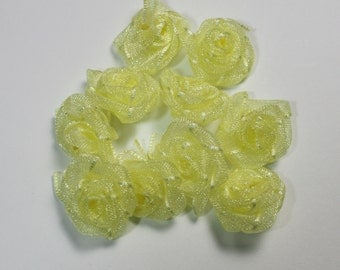 Artificial Flowers Jewelry Fashion, Organza Ribbon Rose Design, Mini Roses Wedding Supplies