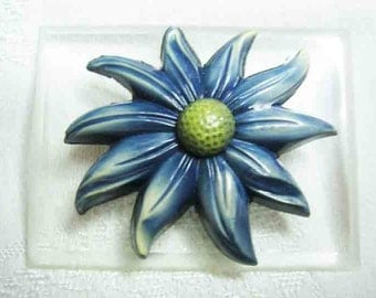 Vintage Celluloid and Lucite Flower Brooch 50s