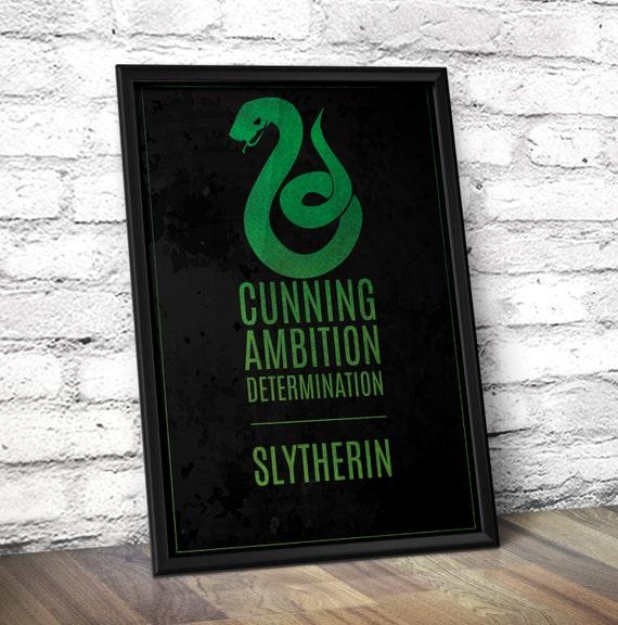 Harry Potter Hogwarts House Inspired Minimal Art Print - Slytherin - Green on Black