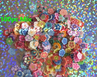 100pcs Flower Polymer Clay Slices, Fine Slices for nail design, nailart, nail decoration, 3D nailart, fimo slices, polymer clay slices