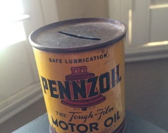Penzoil Old Collectable Coin Bank Can