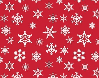 Holiday Snowflakes red Riley Blake fabric red Christmas snowflake print fabric sewing quilting apparel winter snowflake print fabric in red