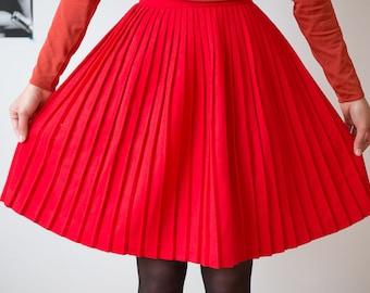 Vintage Red Pleated Skirt