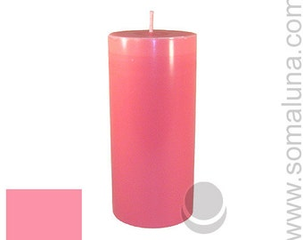 3 x 6.5 Pink Classic Hand-poured Unscented Pillar Candles Solid Color