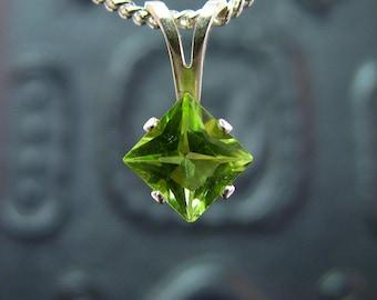 Peridot necklace, sterling silver peridot pendant, peridot pendant silver, genuine green peridot 5x5 mm