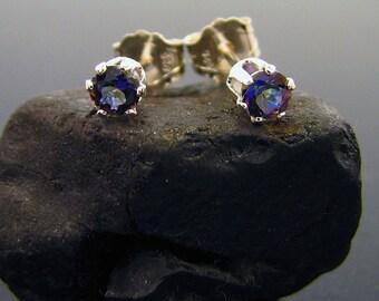 Small mystic topaz stud earrings, genuine blue mystic topaz stud, topaz earrings 3 mm, rainbow stud earrings