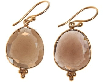 Handmade Gold-plated Sterling Silver Smoky Quartz Oval Earrings