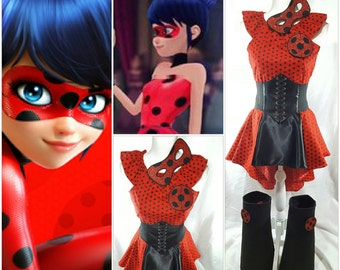 Miraculous Ladybug Marinette Top, High Low Skirt, Waist Cincher Belt, Boot Covers