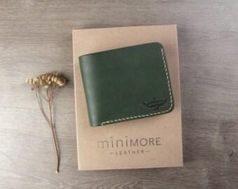 Classic Green Leather Bifold Wallet - Bifold wallet - Women Leather Wallet - Vegetable tanned leather - Handmade - Leather Bifold