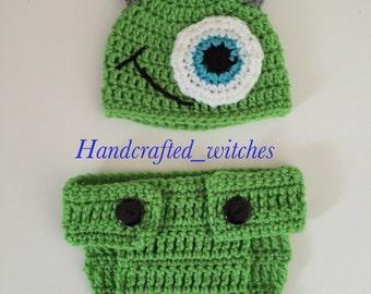 Handmade Monster Hat, Diaper Cover ,Crochet Monster Set for Newborn