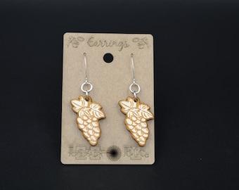 Wine Grape Bunch Birch Earrings