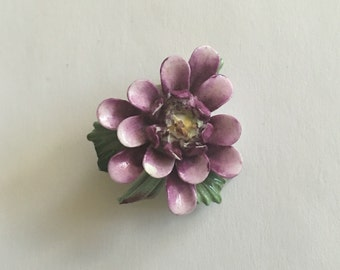 Vintage porcelain purple flower brooch