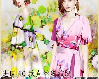90-140CM Wide Print Silk Fabric for Summer Clothing Dress Blouse Skirt E097