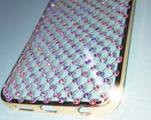 Samsung Galaxy S6 Edge Cell Phone Case Iced Out Bling Bling Swarovski Crystal Elements Rhinestones Cell Phone Case w/ Gold Bumper Protective