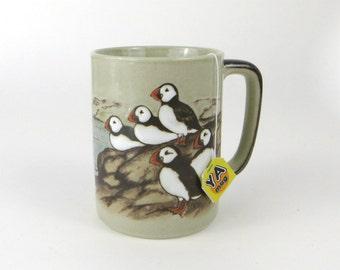vintage embossed puffin stoneware mug