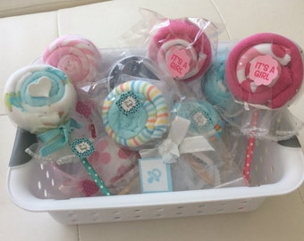 Washcloth Lollipops/Baby Shower Favors/Baby Shower Gift/New Baby Gift/Boy or Girl