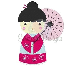 China Doll Machine Embroidery Design 032814 Filled stitch 4X4 5X7 8X8 6X10 Instant download