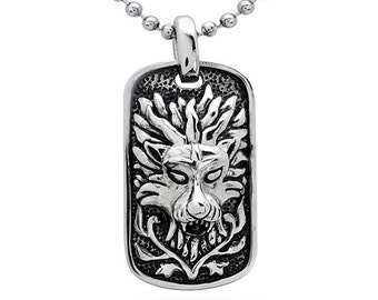 Lion Necklace,  Stainless Steel Lion Dog Tag Necklace-SSN146