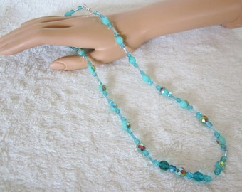 Aqua-Blue Glass Bead Necklace-opaque round faceted crystal beads are the focal point of the piece, treated with Aurora Borealis, Great Gift!