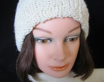 Ladies White Winter Hat -hand knit acrylic yarn. Handy for outdoor events & winter sports. A perfect gift for winter. A great holiday gift!