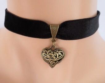 black velvet choker, heart choker, elasticated ribbon, filigree heart, antique bronze