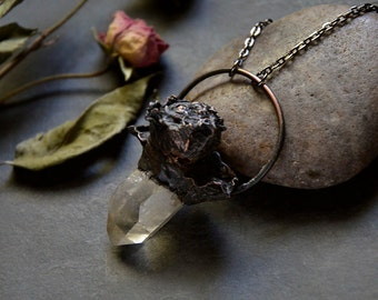 Clear Quartz Point Necklace with Real Rose | Crystal point Necklace | Crystal Quartz | Antique Copper | Preserved Rose Necklace