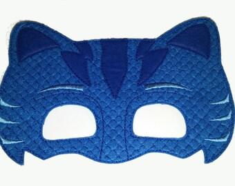 Cat Felt Embroidered Mask - Blue Cat Mask - Kid & Adult - Pretend Play - Halloween Costume - Make Believe