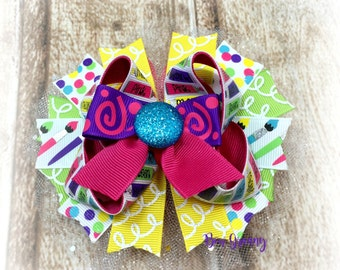 Over the Top Bow, Pink and Purple Bow, Back to School Bow, Little Artist Bow,  Boutique Hair Bow, Stacked Hair Bow, Bright Hair Bow