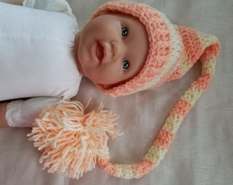 Crochet Baby Hat,3-6 Month,Long Tailed Baby Hat,Photo Prop,Baby Gift,Pixie Hat,Striped Stocking Pixie Hat,Crochet Baby Hat Ready To Ship