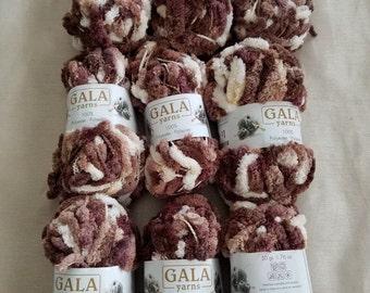 Gala Bulky Pom Pom Yarn 9 Skiens, Bulky Yarn, Novelty Yarn, Brown Cream Beige Yarn