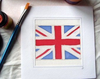 British Union Jack Flag/Hand Painted Silk Greeting Card/United Kingdom/UK Union Jack/Englang Flag Card/UK Flag/British Union Jack Card Gift.