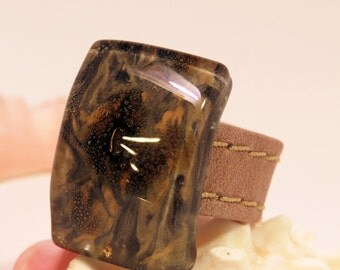 Glass Ring with Brown Leather Band