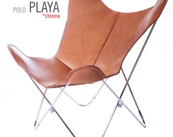 100% Handcrafted Original Butterfly Chair Polo leather with Chrome Frame from Argentina (Big BKF)