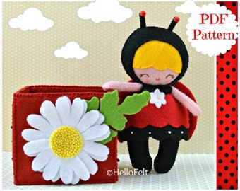PDF PATTERN: Little Ladybug.  Felt Ladybug Doll, Daisy Felt box, Sewing PDF Pattern.