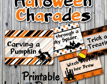 Halloween Charades Party Game Printable - PDF Printable - 32 Different Charade Prompts on Decorative Cards Includes Blanks -INSTANT DOWNLOAD