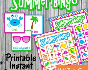 Summer Bingo Game - Printable PDF - 30 different Cards - Half Page Size - Memory Game - Party Game Printable - INSTANT DOWNLOAD