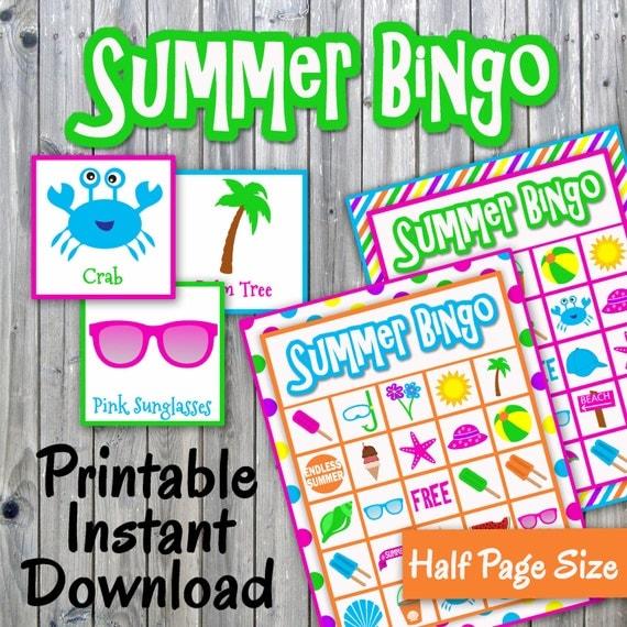 Summer Bingo Game Printable PDF 30 different Cards Half