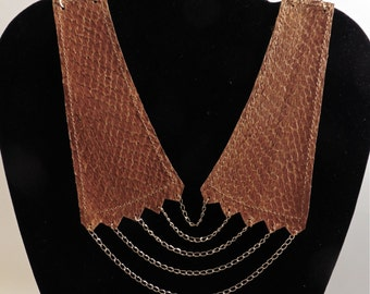 Fish in shades of brown leather necklace