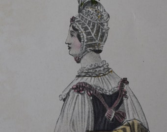 Fashionable Lady Modes & Manners Vintage Hand-Tinted 1909 Print  1816 lounging outfit