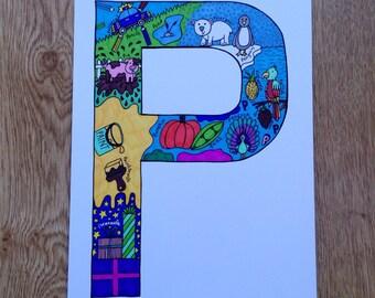 Alphabet Letter 'P' Colour Print