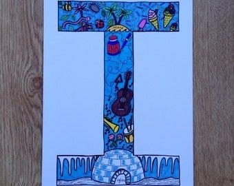 Alphabet Letter 'I' Colour Print