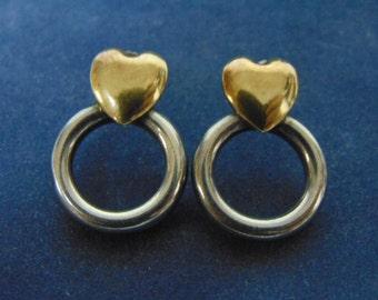 Womens Vintage Estate .925 Sterling Silver & 18k Gold Earrings  4.3g #E2454
