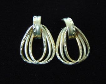 Pair of  Vintage Estate 14K Yellow Gold Hoop Stick Earrings, 2.6g E2542