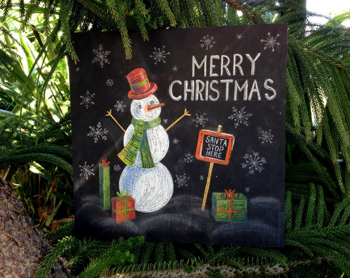 Snowman sign, Merry Christmas Sign, Christmas Snowman Door Hanger, Holiday Decoration, Christmas wood sign, Snowman decor