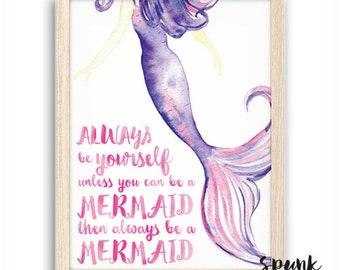 Always be a Mermaid Print Nursery Kids Baby Playroom