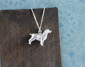 Spaniel Sterling Silver Necklace; gifts for her, jewellery, springer, cocker, dog breed, gun, crufts, chain, 3D, charm, paw, mother's day