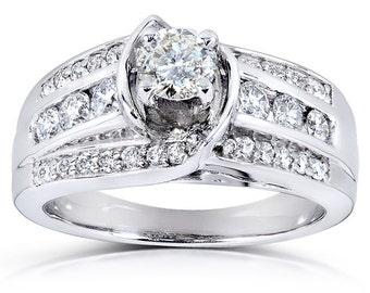 Diamond Engagement Ring 7/8 Carat (ctw) in 14k White Gold