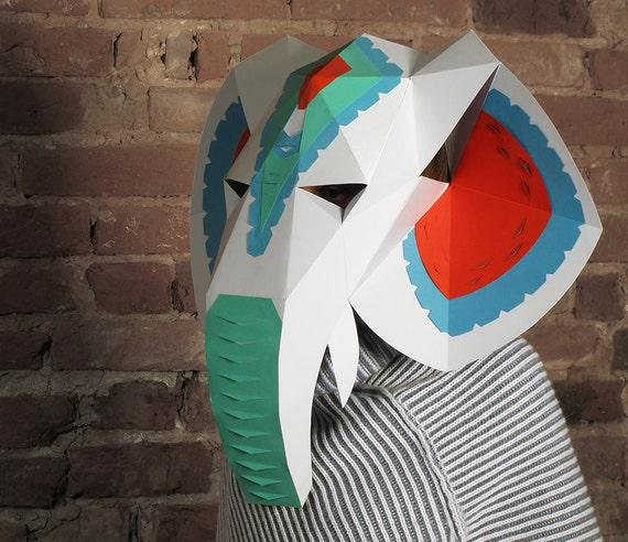 Diy Cardboard Masks: Elephant Head Mask With Halloween Mask Decor DIY Paper