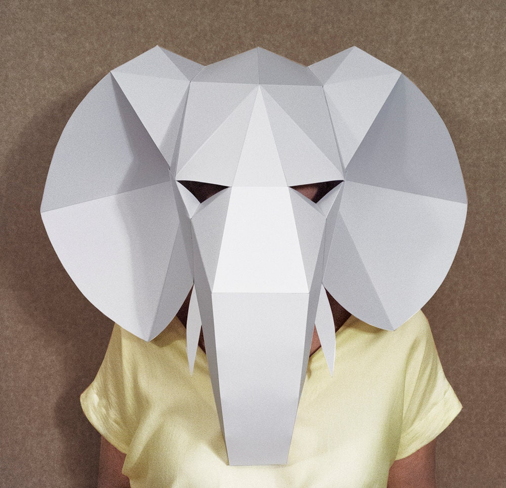 Elephant head mask DIY Paper creation PDF pattern by SmagaPaper